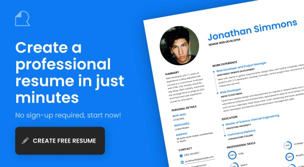 Design Your Resume For Free And Download A Print Ready Pdf